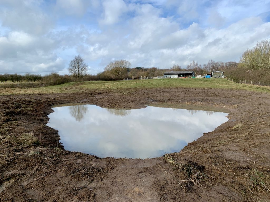 Wildscapes pond creation in Derbyshire 2021